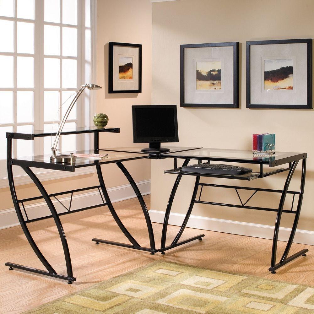 Corner computer desk l shaped glass workstation home office table keyboard tray cornercomputerdesk modern