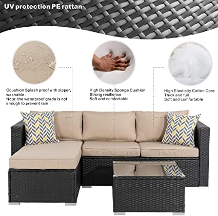 Amazon Com Walsunny Outdoor Furniture Patio Sets Low Back All Weather Small Rattan Sectio In 2020 Corner Sofa With Cushions Sectional Patio Furniture Couch Cushions