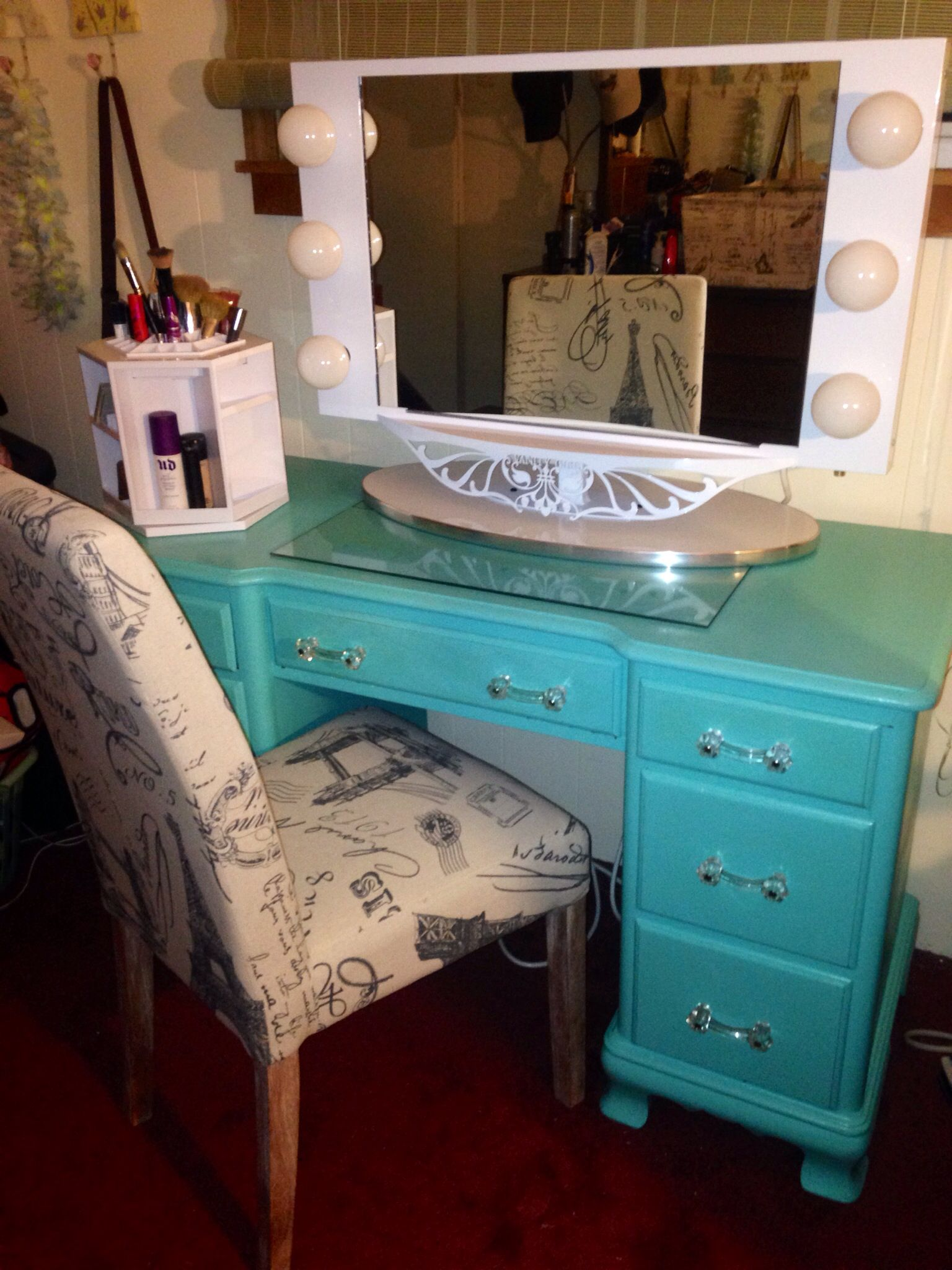Qvc Makeup Organizer Alluring Refurbished Antique Desk Painted Tiffany Blue Mirror Is From Decorating Design