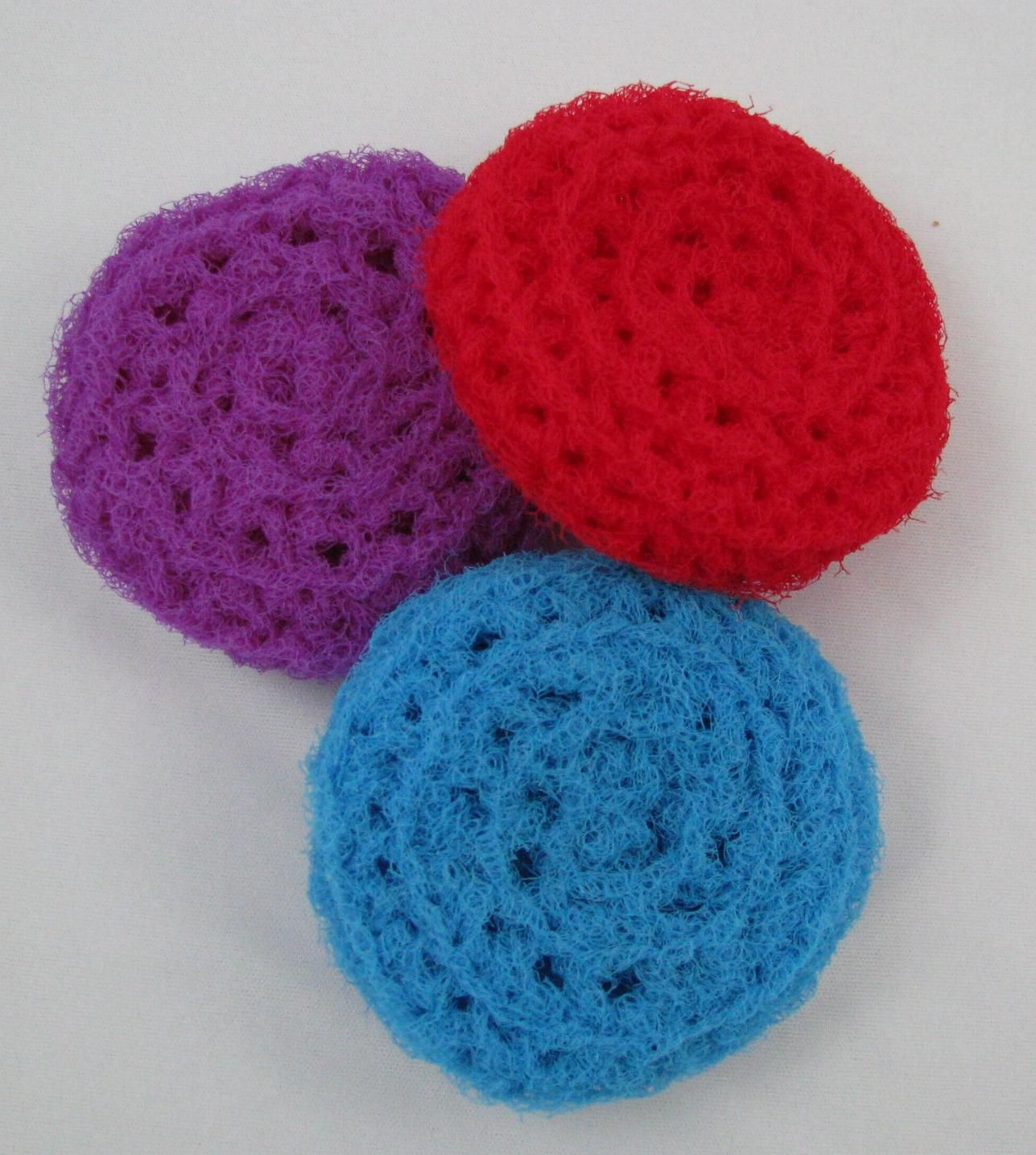 Nylon crocheted scrubbies to clean your pots and pans. 3 inches in ...