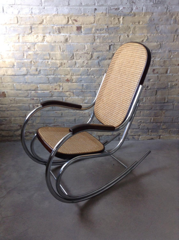 Mid Century Chrome Tubular Bentwood Rocking Chair Mid Century