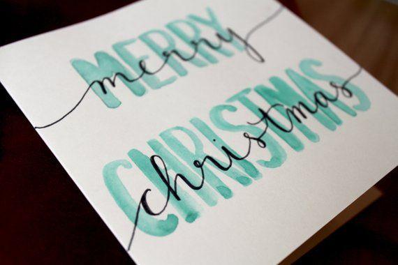 Ähnliche Artikel wie Weihnachtskarte merry christmas - Aquarell auf Etsy