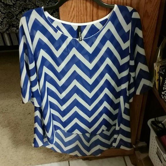 Blue and white chevron top Blue and white chevron flowy top. Longer in back. Tops