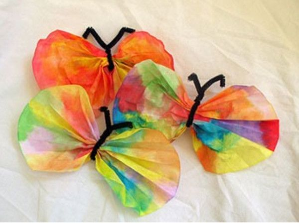 A butterfly craft for children 3 and up - it uses coffee filters! http://woodbury-middlebury.patch.com/articles/crafts-for-toddlers-crafty-tuesday-how-to-make-butterflies-using-coffee-filters-crafts-for-children#photo-9270485