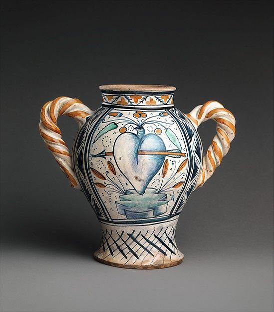 Vase Or Jar With Love Motifs Date Ca 1470 90 Culture Italian Deruta Medium Maiolica Tin Glazed Earthenware Dimen With Images Italian Pottery Majolica Pottery Deruta