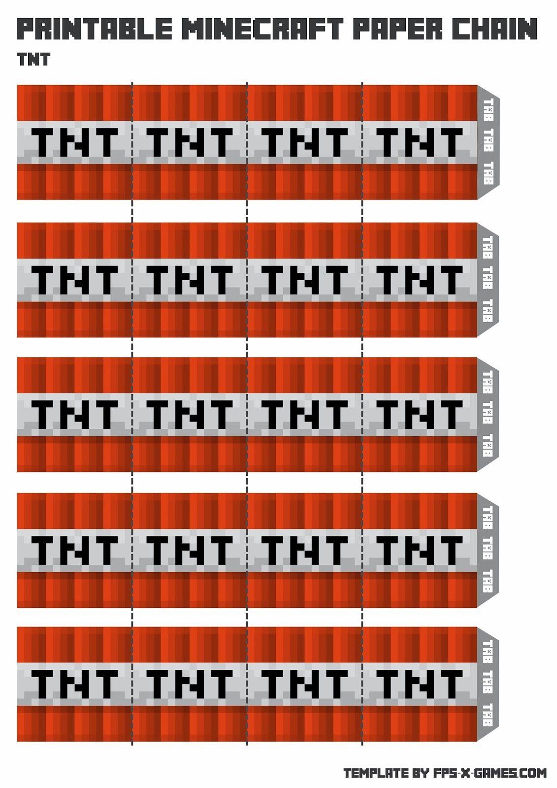 Free Printable Minecraft Templates Tnt Minecraft Party Printables Minecraft Party Minecraft Printables