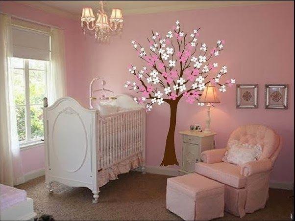 Dormitorio de beb s decorados con rboles proyectos a for Decoracion pared bebe nino