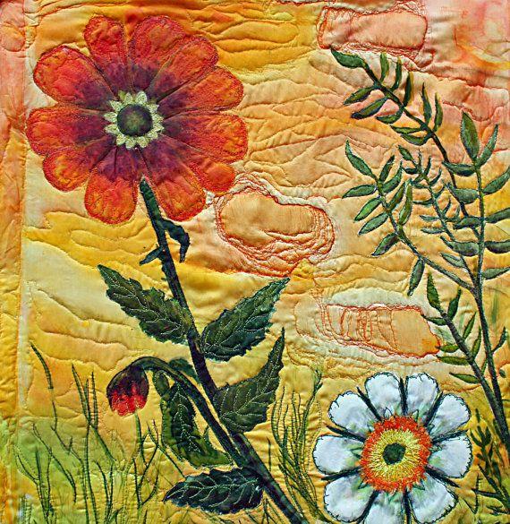modern art quilt in Yummy colors Tangerine Sky. #quilt #flower ...