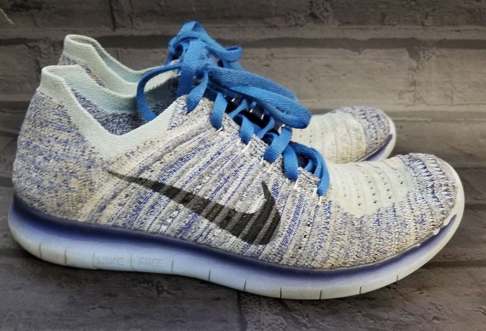 c9fc3f93731 Nike Free RN Flyknit Womens Blue Run Running Sneakers Shoes Size 7.5  Nike   RunningShoes