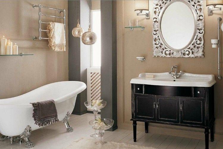 déco salle de bain rétro, peinture beige pastel, meuble sous lavabo