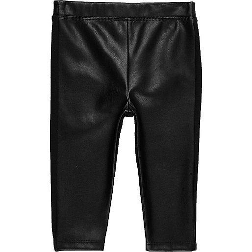 21b4a663d2 Mini girls black leather look leggings | Baby girl bottoms, Baby .