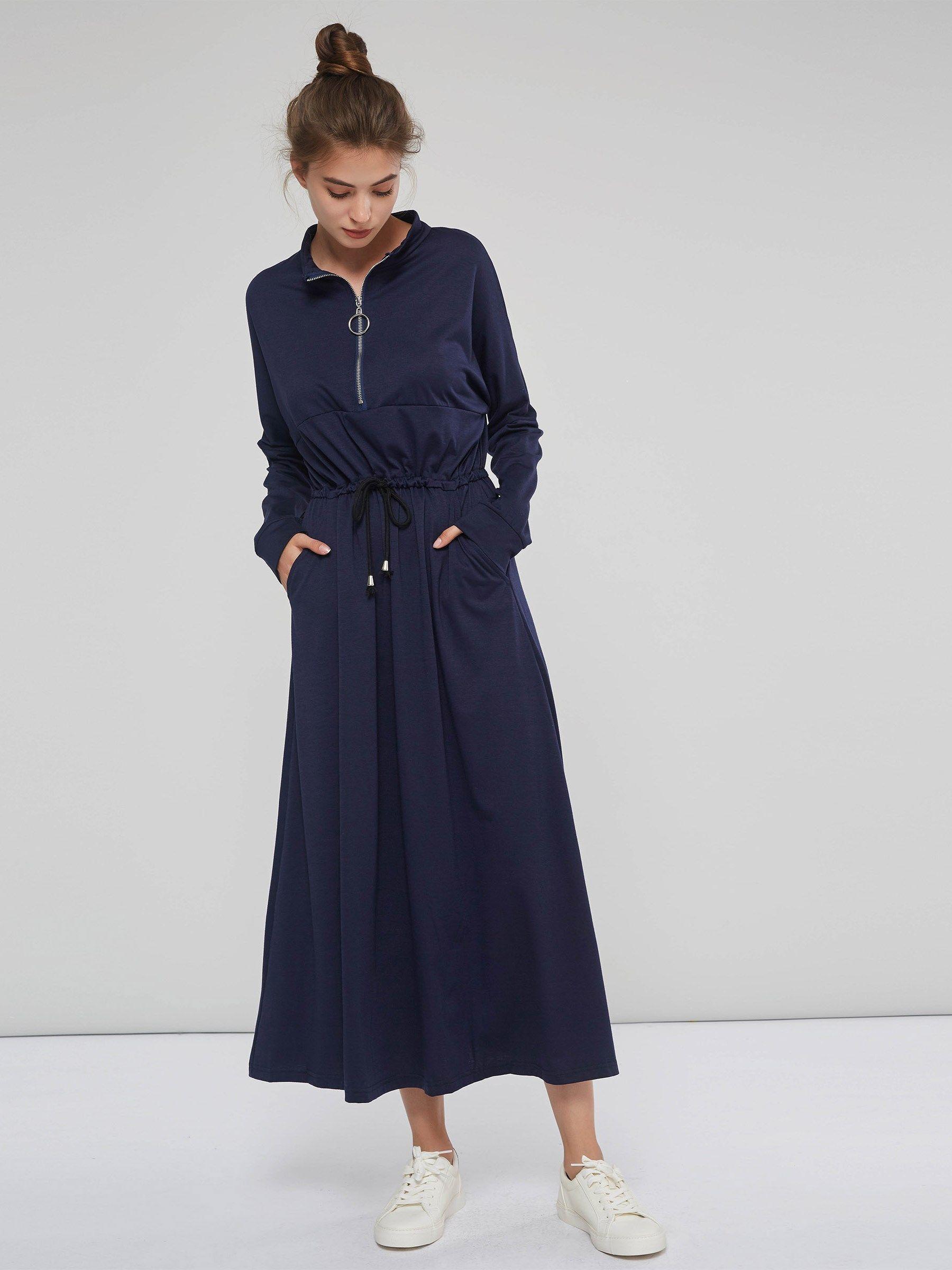 Long sleeve lace up zipper womenus maxi dress fall u winter