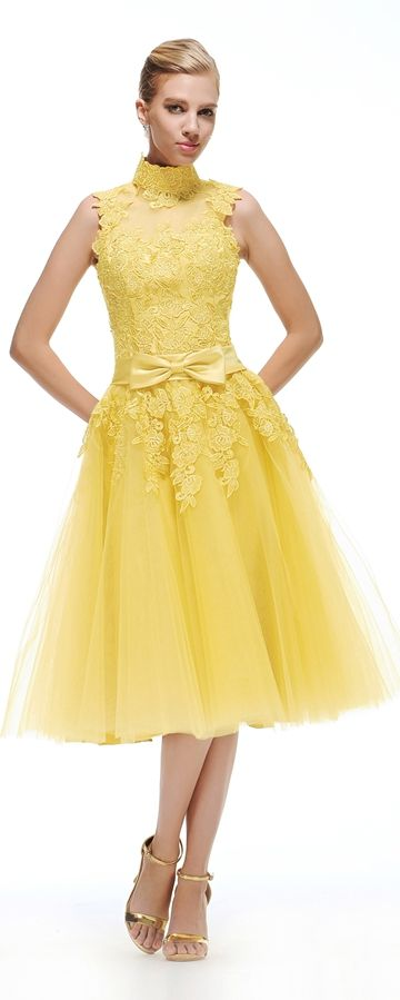 High Neck Yellow Evening Dress Tea Length | Yellow evening dresses ...