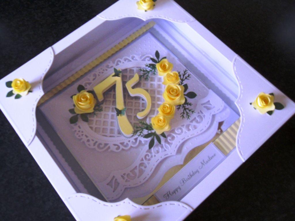 Handmade 75th Birthday Card Using Spellbinder Bracket Dies
