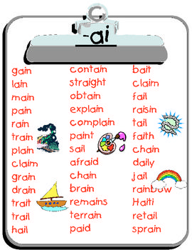Printable List Of Words That Contain The Ai Spelling Pattern Simply Print Onto Card Stock To Use Over And Over Again Phonics Words Phonics Lessons Word List