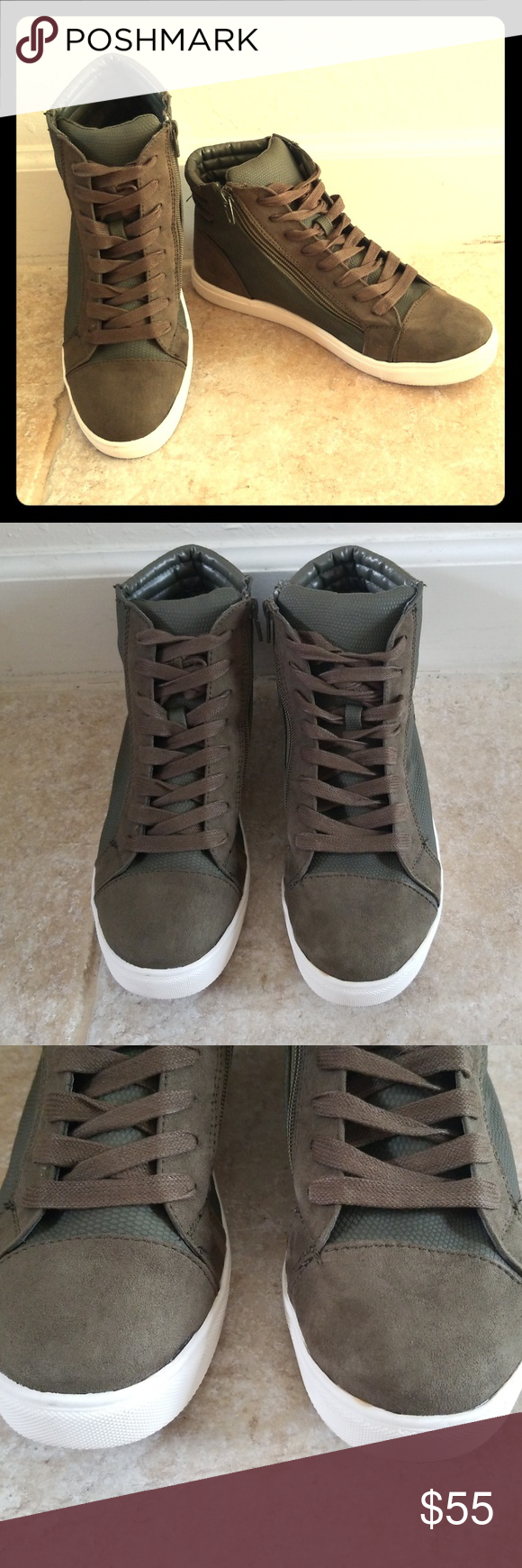 44ad4523ede Steve Madden Women s Olive Exact High Top Sneakers Olive green Steve Madden  lace up zippered high