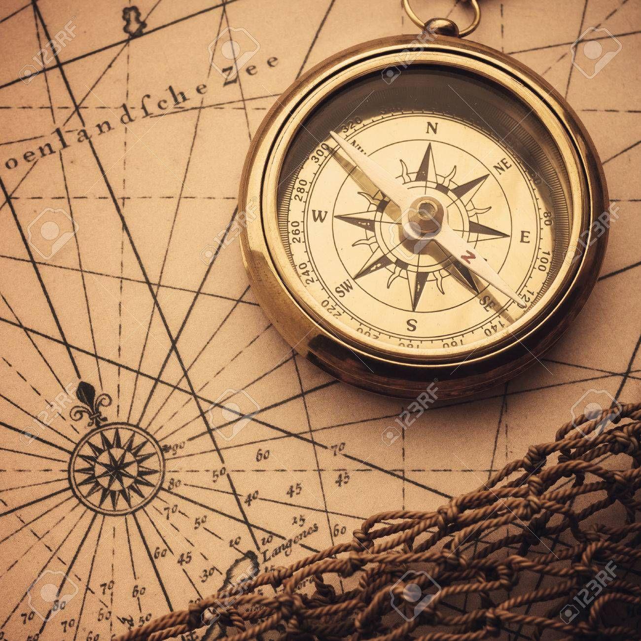 Old Compass On Vintage Map Aff Compass Vintage Map