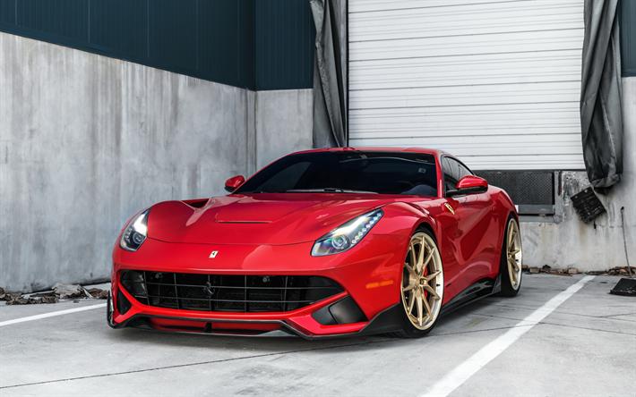 Télécharger fonds décran Ferrari F12berlinetta, 2018, ANRKY Roues, F12, rouge coupé sport, supercar, lor des roues, des voitures de sport italiennes, Ferrari