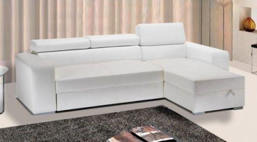 Divano letto contenitore Rosa 264x163x43 cm in ecopelle bianco con ...