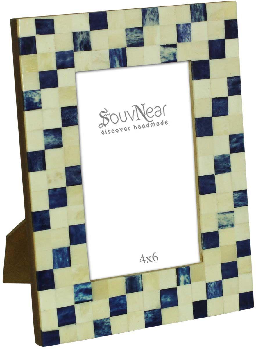 Rectangular Photo Frame in MDF & Bone – Blue & White Check Pattern ...