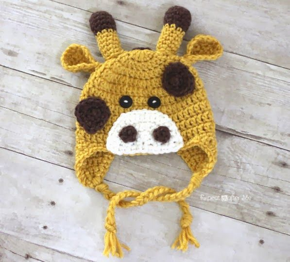 Super sweet crochet Giraffe Hat Pattern from the Repeat Crafter Me ...