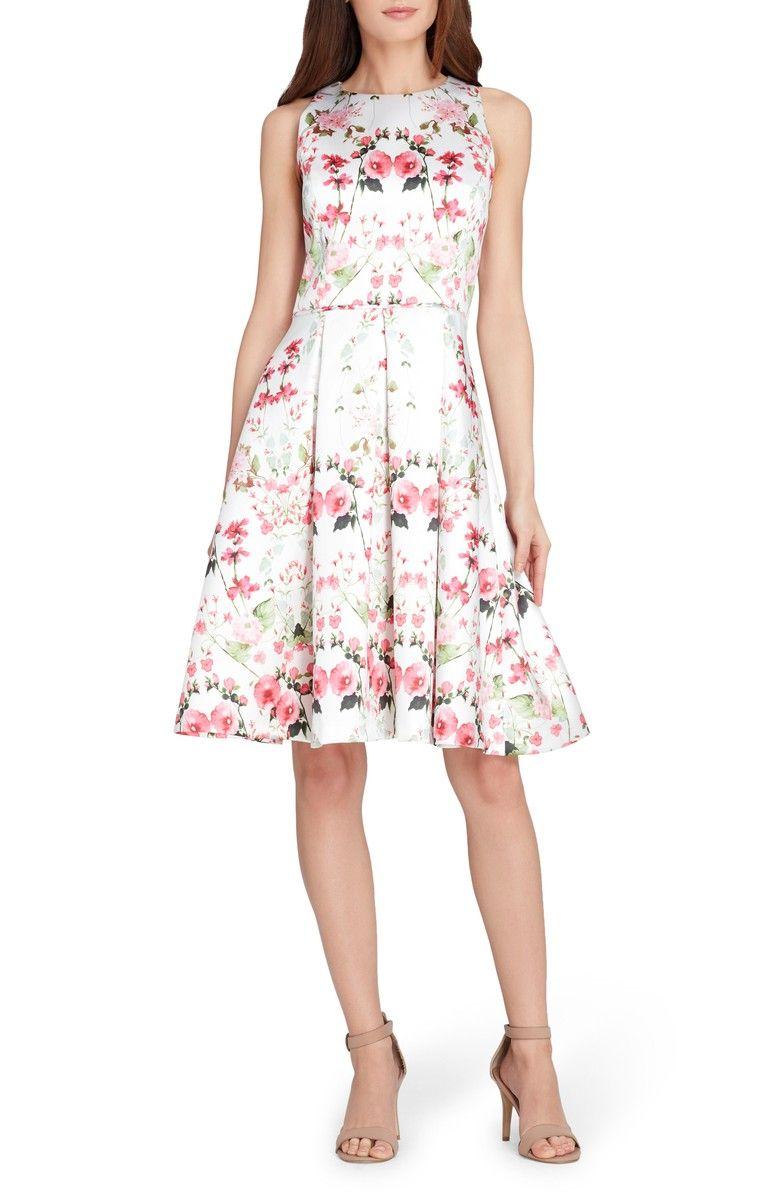 Tahari Micado Floral Print Fit Flare Dress Regular Petite Nordstrom Petite Cocktail Dresses Fit Flare Dress Dresses [ 1197 x 780 Pixel ]