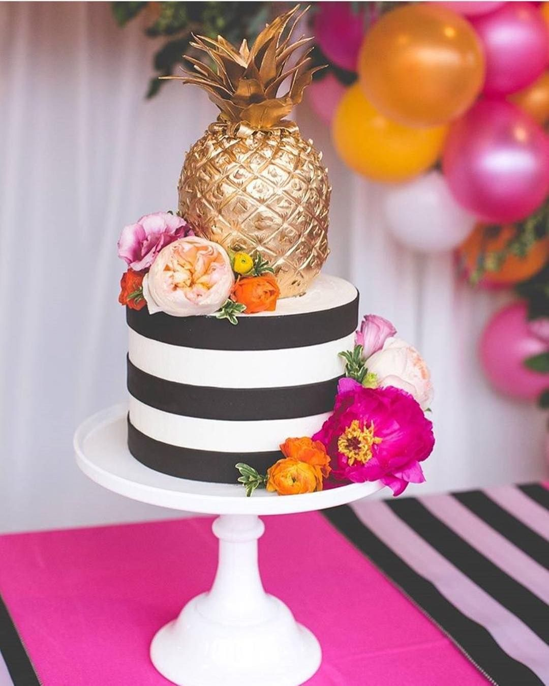6c3a69f32714 Kate Spade inspired cake with black + white stripes