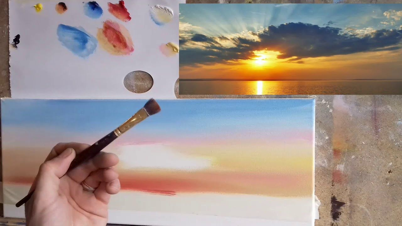 Painting A Sunrise Youtube In 2020 Painting Tutorial Painting