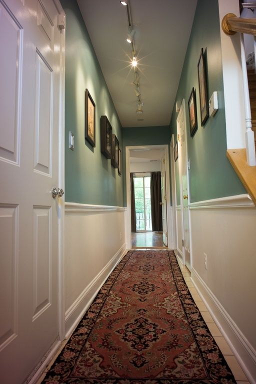 Chair Rail Hallway Part - 43: Ideal Entry Way / Narrow Hallway Look! Sage Green, Chair Rails, And White