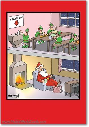Santa Suggestion Box Card Christmas Humor Christmas Humor Ecards Funny Cartoons