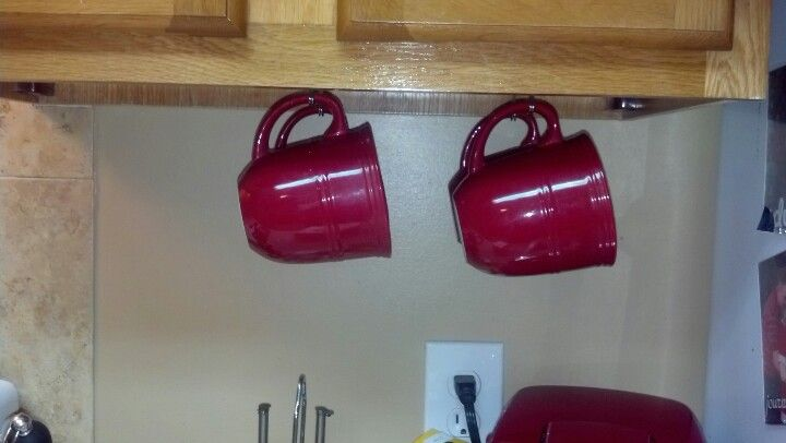 Use Command Hooks To Hang Coffee Mugs Under Cabinets.
