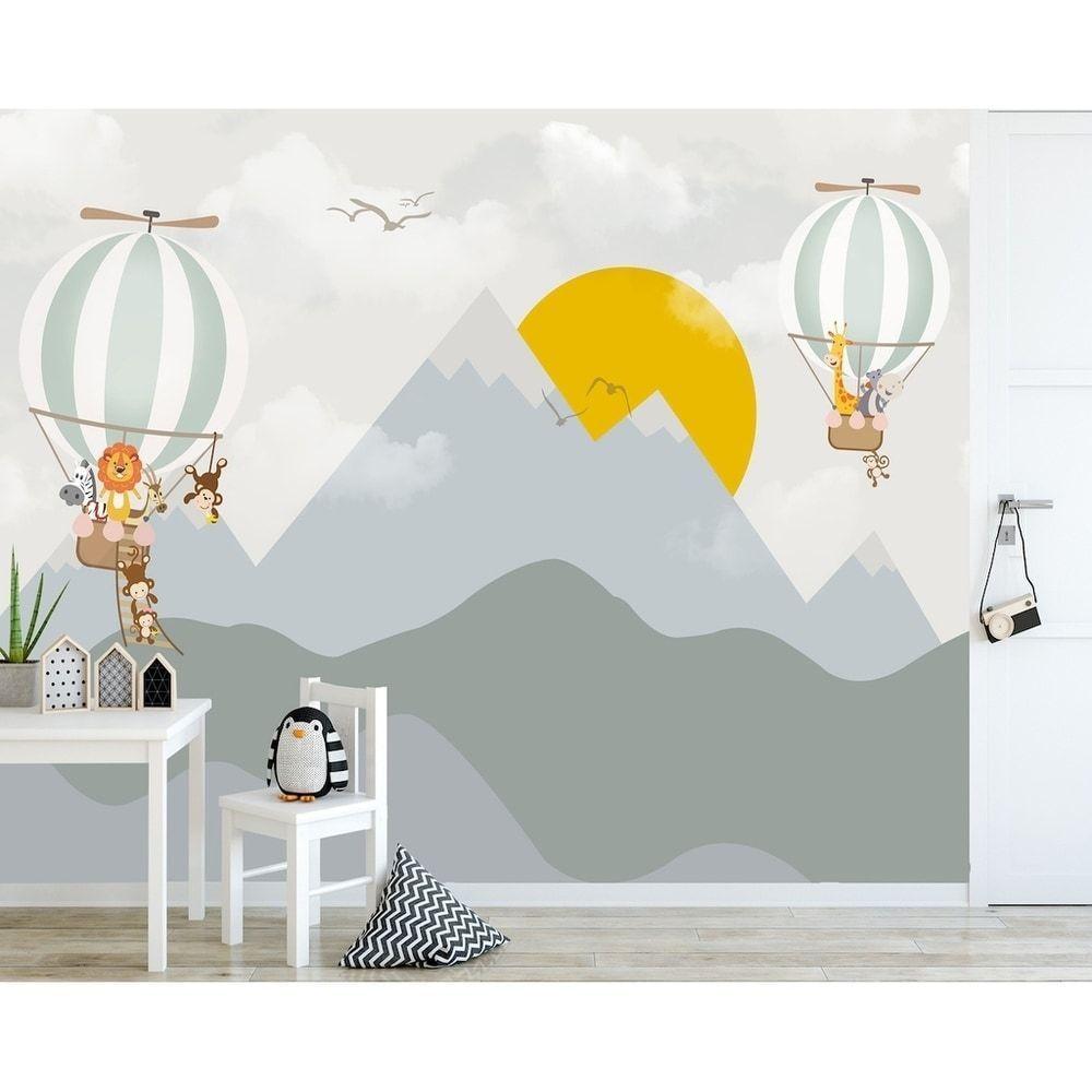 Sunrise Hot Air Balloon Mountain Textile Wallpaper In 2020 Kids Room Murals Nursery Wall Decor Kids Wallpaper