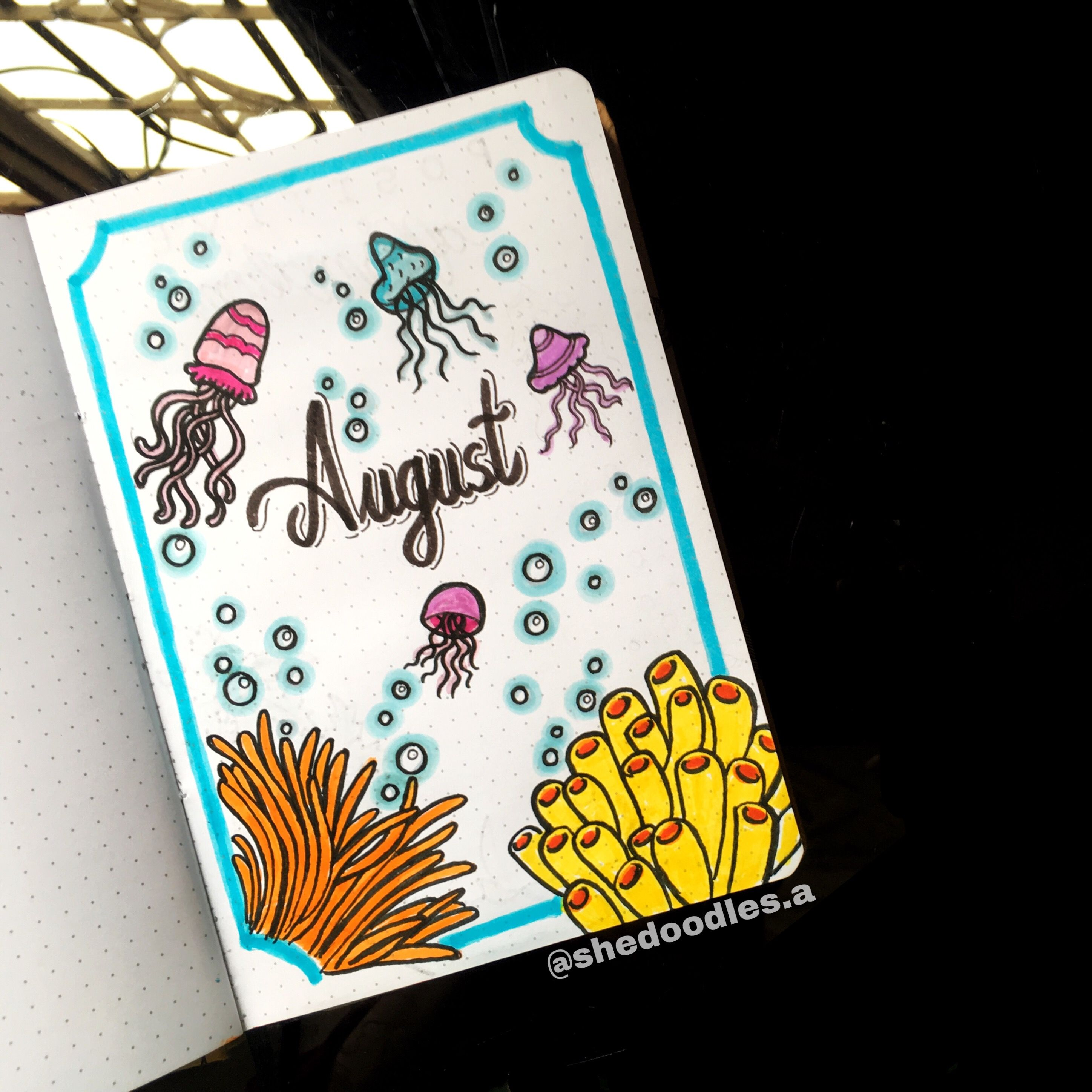 August Bullet Journal, Ocean Theme #augustbulletjournal