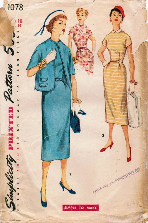 1950er Jahre Einfachheit 1078 Schnittmuster verfehlt dünnes | Planer ...