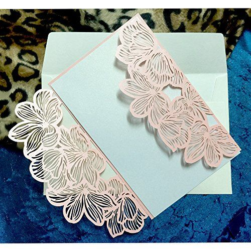 WOMHOPE/® 50 Pcs Green White inner sheet Lace Petal Wedding Invitation Hollow Laser Cut Lace Shimmer Party Invitations Cards Birthday Invitations Cards Wedding Favors