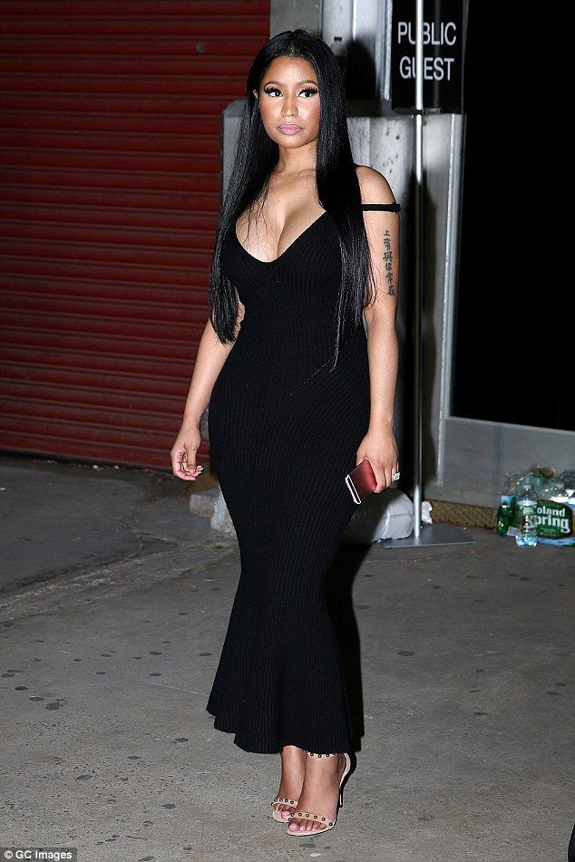 0ca58243ed48 Shapely: Nicki Minaj had her hourglass figure on full display on Saturday,  when the pop songstress stepped out for Alexander Wang's New York Fashion  Week ...