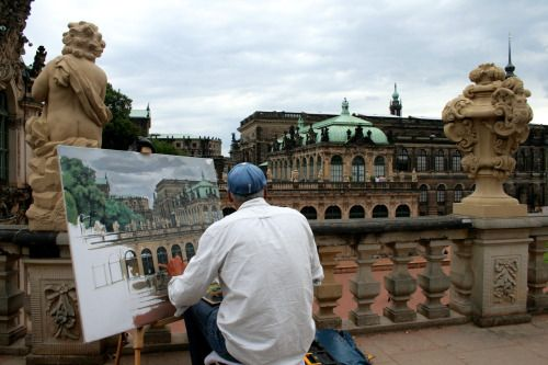 daenysrainbow:  This is some man painting what he saw in beautiful Zwinger palace in Dresden, Germany. I don't know who it is, but his skill is brilliant so I photographed him. :)