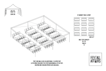 30 x 30 Frame Tent Layout   Party and Wedding Rentals in