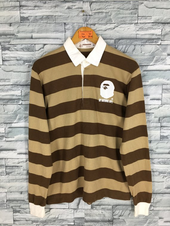 8e387aa559 A BATHING APE Polo Rugby Shirt Small Nigo Japan Bape Streetwear Border  Stripes Ape Shall Never Kill