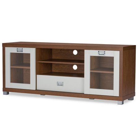 Baxton Studio Matlock Modern 2-Tone Walnut and White TV Stand with Glass Doors, Brown