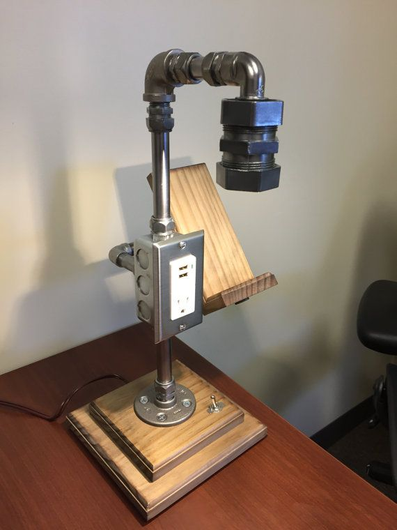 Stainless Steel Industrial Desk Lamp With Cell Phone