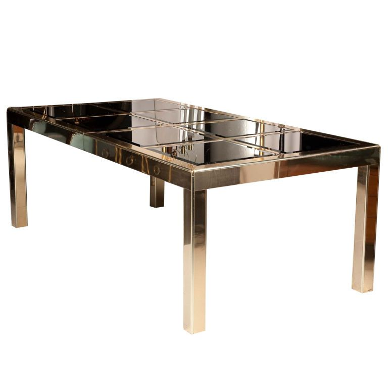 1stdibs Mastercraft Brass Dining Table With Bronze Mirror Insets