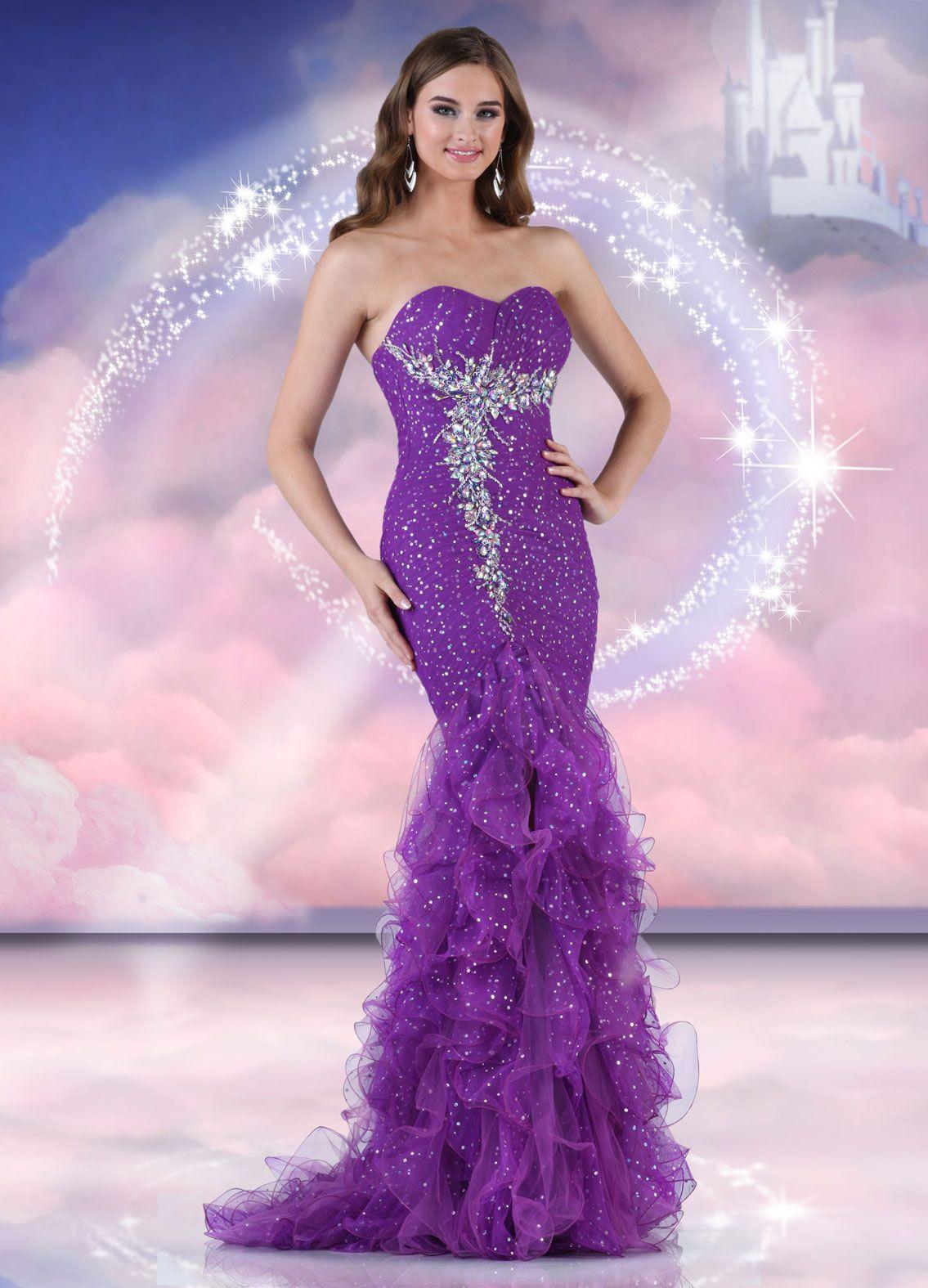 Disney Forever Enchanted Prom Dress Heart of Magig mermaid purple ...