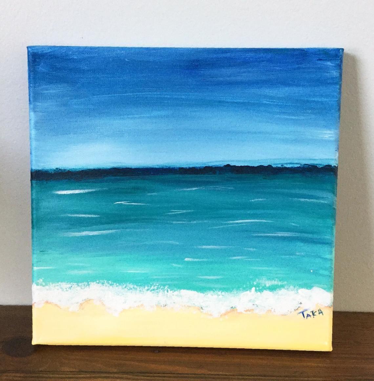 Original Canvas Painting Ocean Canvas Wall Art Beach Canvas Etsy
