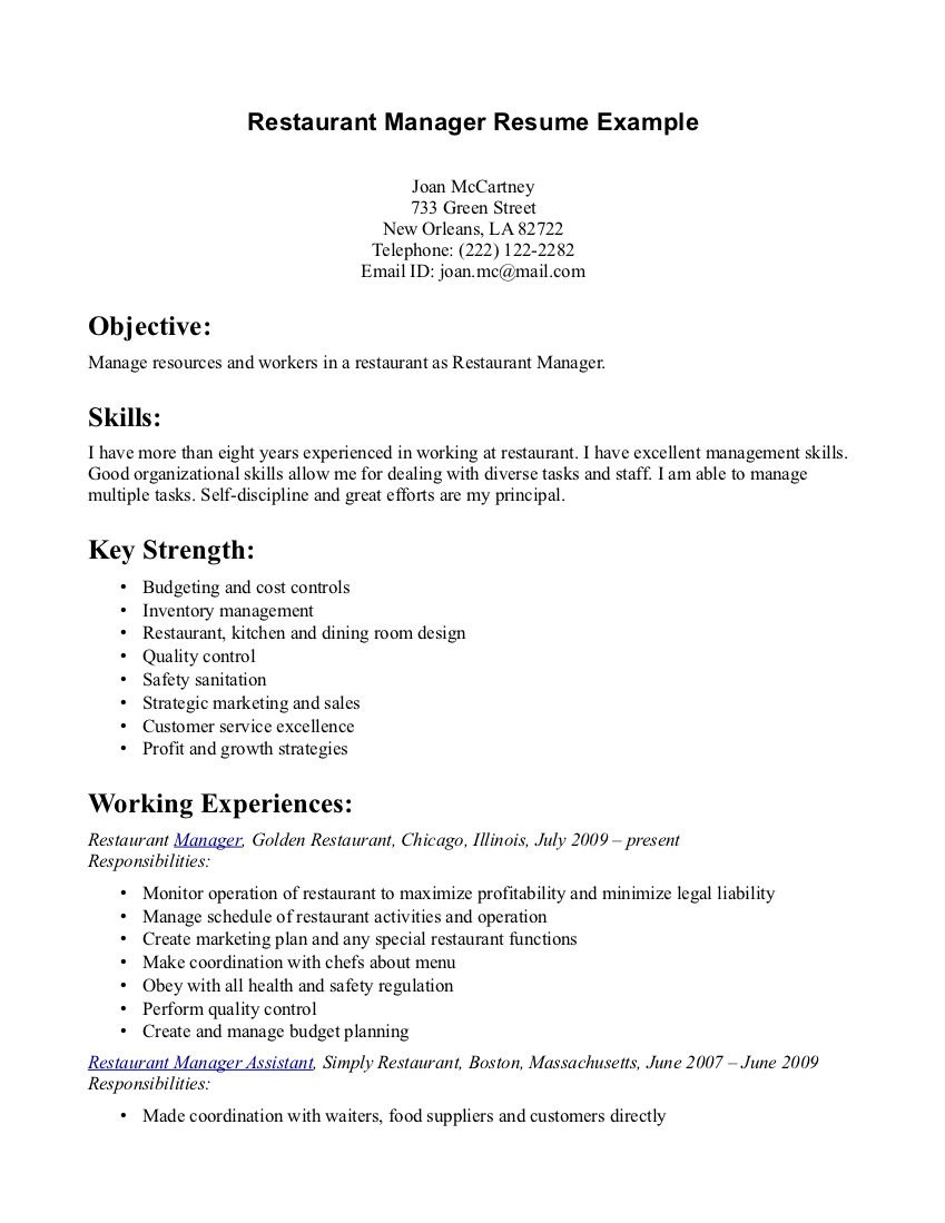 Example Of An Objective On A Resume Restaurant Manager Resume Example  Httpwwwresumecareer