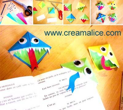 ☠ ✄ Monstres Croqueurs de pages Origami / DIY Paper Monsters bookmark ✄ ☠ http://www.creamalice.com/Coin_conseils/1-loisirs_creatifs_2012/10-Tuto_Marque_page_Origami/Tuto_DIY_Marque_page_Origami.htm