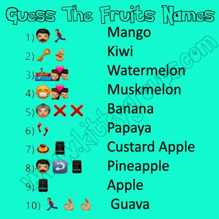 Whatsapp Puzzle Guess The Fruits Names Kitty Party Games Fruit Names Christmas Games For Adults