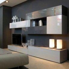 mueble de saln de 300 cm de largo y 45 cm de fondo proponemos la combinacin de los acabados roble vainilla con hueso y cemento mate - Muebles Salon Diseo