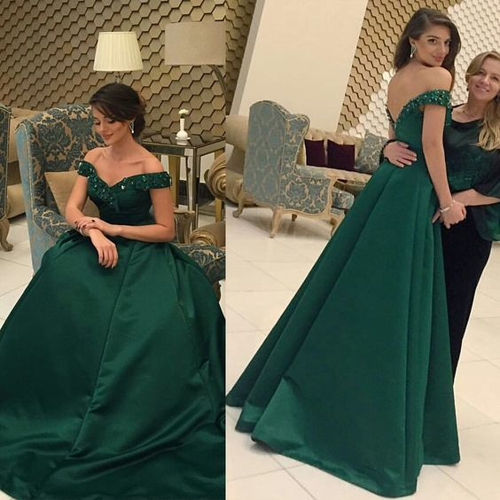 Beaded Prom Dress,Off The Shoulder Prom Dress,Satin Prom