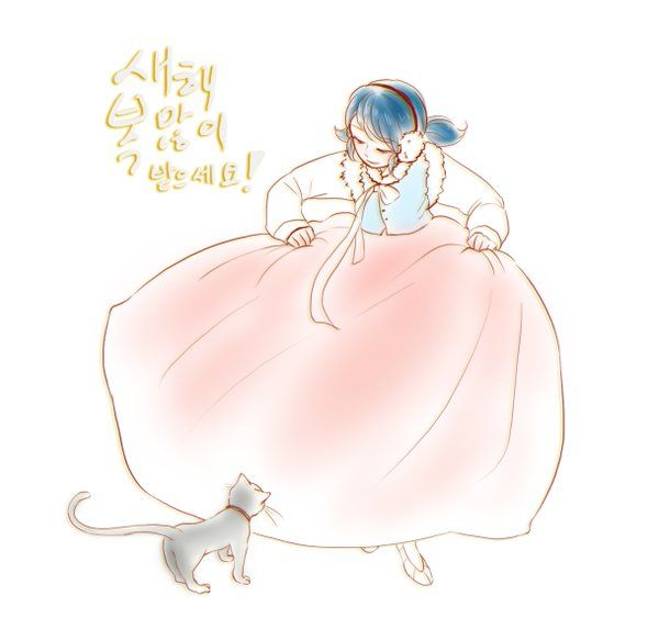 Marinette in a wintery dress encountering a black kitty (Miraculous Ladybug)